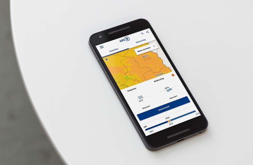 Handy zeigt mobile ARD-Klimakarte